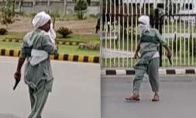 پارلیمنٹ ہاؤس کے باہر اسلحہ لہرانے والا شخص گرفتار