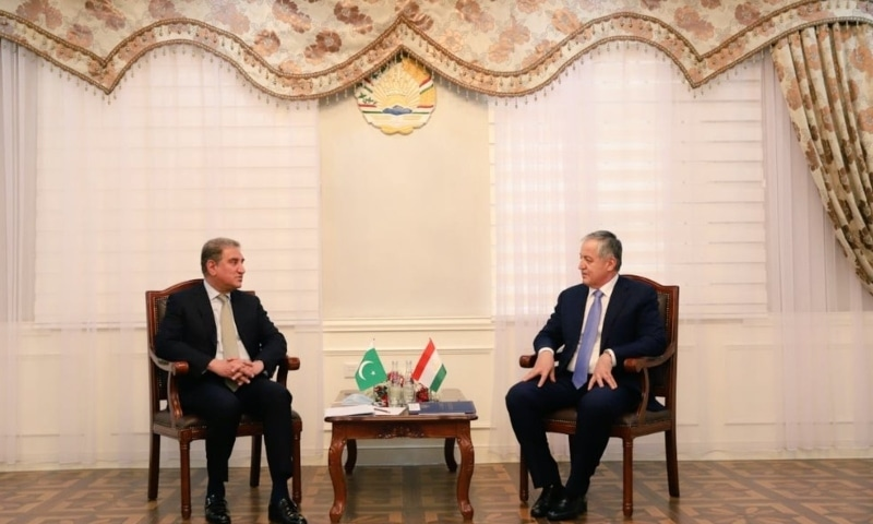 Foreign Minister Shah Mahmood Qureshi (left) met his Tajik counterpart Sirojiddin Muhriddin on Monday. — Photo courtesy Twitter
