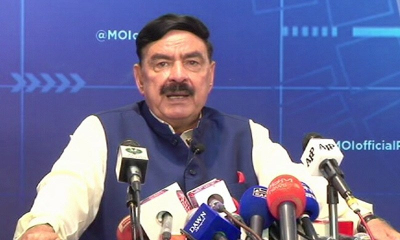 nterior Minister Sheikh Rashid Ahmed addresses a press conference in Islamabad on Monday. — DawnNewsTV