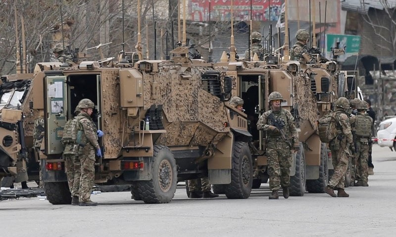 Nato soldiers inspect near the site of an attack in Kabul, Afghanistan in March 2020. — Reuters/File