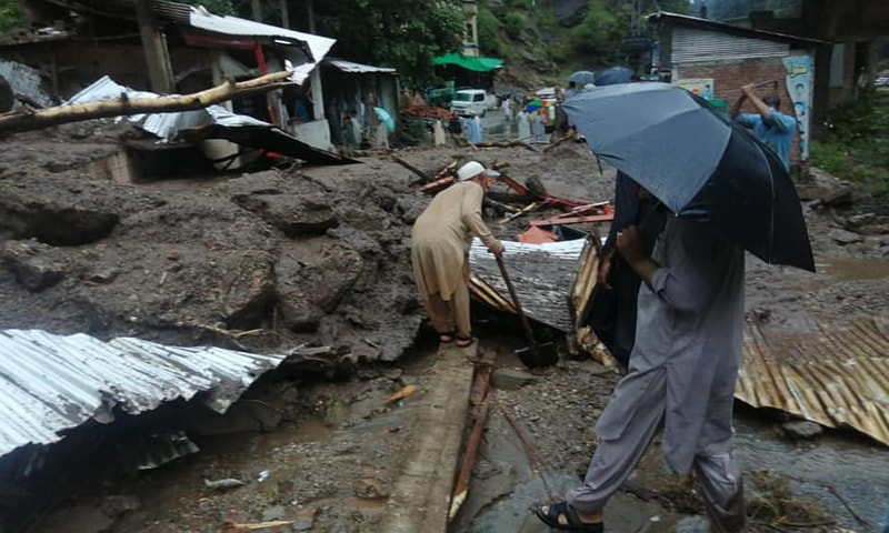 In Shangla district, at least three houses, a hotel, a water mill and four cars were destroyed due to landslides, Deputy Commissioner (DC) Hamidur Rehman said. — Photo by author