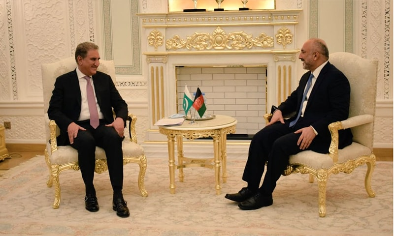 Foreign Minister Shah Mehmood Qureshi meets his Afghan counterpart Haneef Atmar in Dushanbe. — Photo: Shah Mahmood Qureshi Twitter