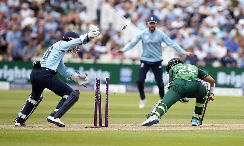 England's John Simpson reacts as Pakistan's Imamul Haq is bowled by England's Matt Parkinson during the 3rd ODI at Edgbaston Stadium, Birmingham, Britain. — Reuters