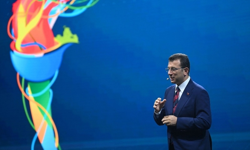 Mayor of Istanbul metropolitan municipality, Ekrem Imamoglu (C) speaks during a launch event to announce a new sport strategy and future sport plan on July 13. — AFP