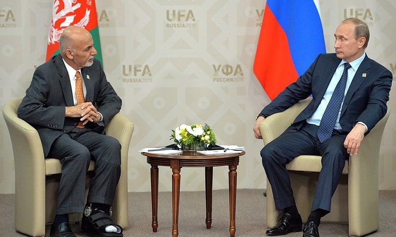 Russian President Vladimir Putin meets Afghan President Ashraf Ghani in this July 2015 file photo. — Photo courtesy: Kremlin