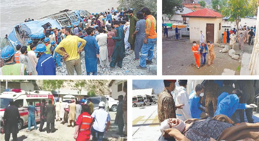 (Clockwise) Rescue workers and onlookers gather around the bus after it plunged into a ravine on Wednesday. An injured Chinese national is helped by locals for treatment at a hospital in Kohistan. Soldiers move an injured Chinese national from an army helicopter at a military hospital in Gilgit. People wheel a gurney towards an ambulance outside a hospital in Dasu.—AFP / AP / Reuters
