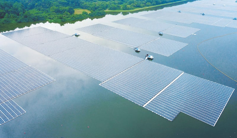 AN aerial view of the floating solar power farm.—AFP