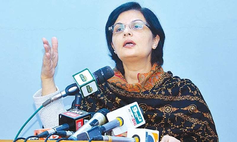 In this file photo, Dr Sania Nishtar speaks to the media in Karachi. — APP/File