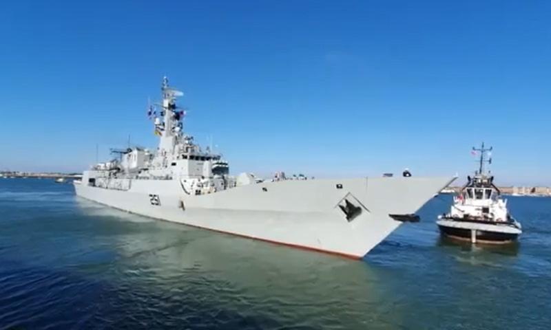 A screengrab from a video showing Pakistan Navy Ship Zulfiquar. — Photo courtesy Pakistan Navy Twitter