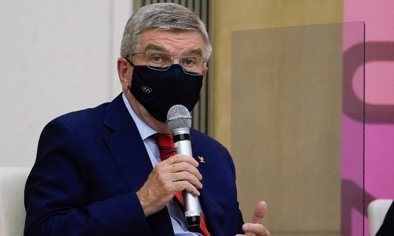 International Olympic Committee President Thomas Bach speaks during a meeting with Tokyo Governor Yuriko Koike in Tokyo on July 15. — AFP