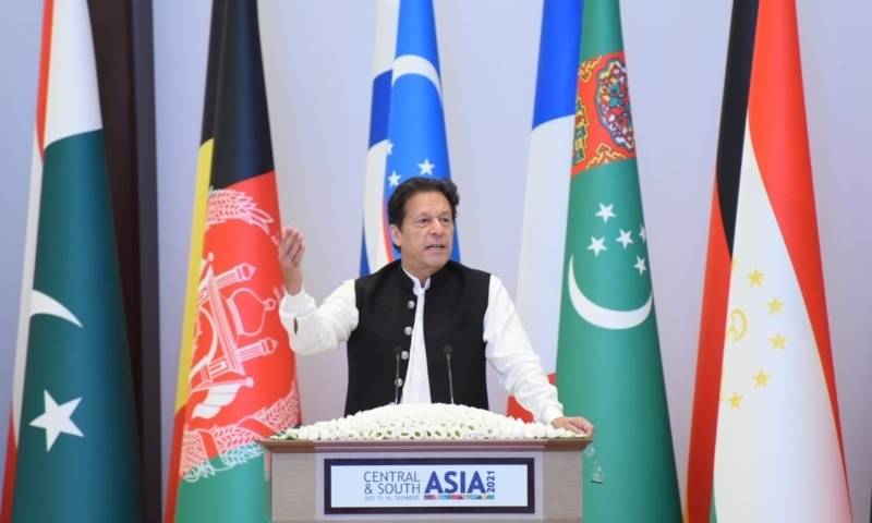 Prime Minister Imran Khan speaks at a conference in Tashkent. — Photo courtesy Government of Pakistan Twitter