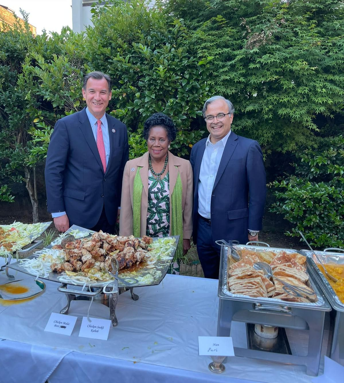 Congressman Tom Suozzi (L), Congresswoman Sheila Jackson Lee and Ambassador Asad Majeed Khan at the reception. — Photo by author