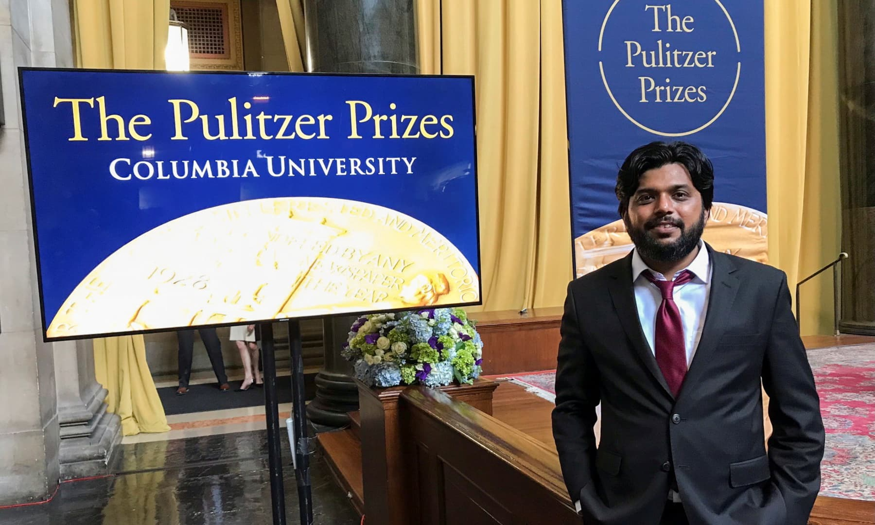 Danish Siddiqui, a Reuters photographer based in India, poses for a picture at Columbia University's Low Memorial Library during the Pulitzer Prize giving ceremony, in New York, US, May 30, 2018. — Reuters