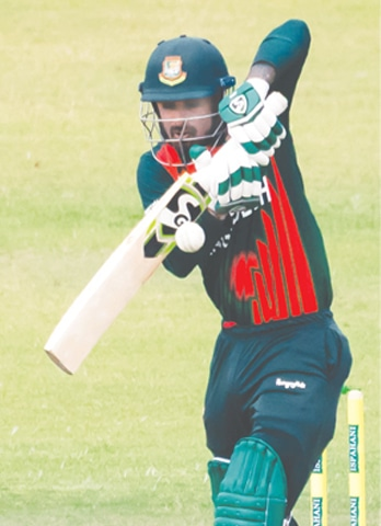 HARARE: Bangladesh opener Litton Das plays a shot during the first One-day International against Zimbabwe at the Harare Sports Club on Friday.—AFP