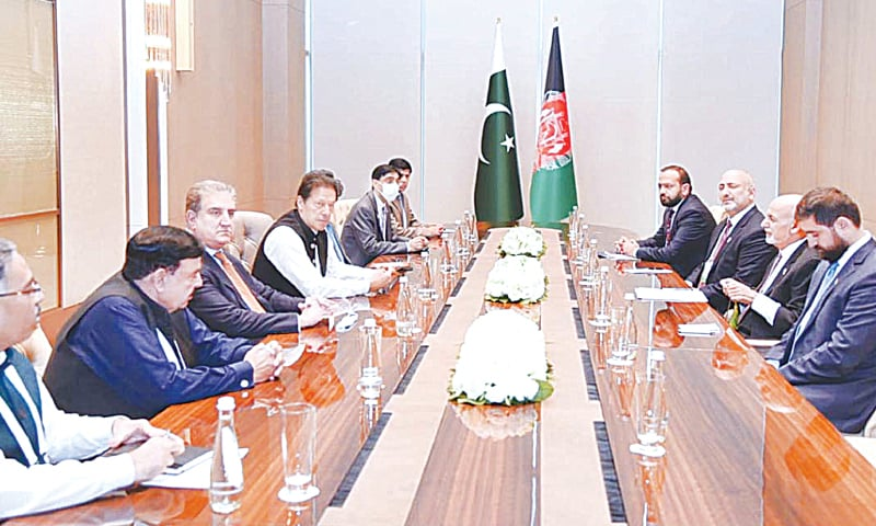 TASHKENT: Prime Minister Imran Khan along with his cabinet members meets Afghan President Ashraf Ghani on the sidelines of the conference on 'Central & South Asia Regional Connectivity: Challenges and Opportunities' on Friday.—APP
