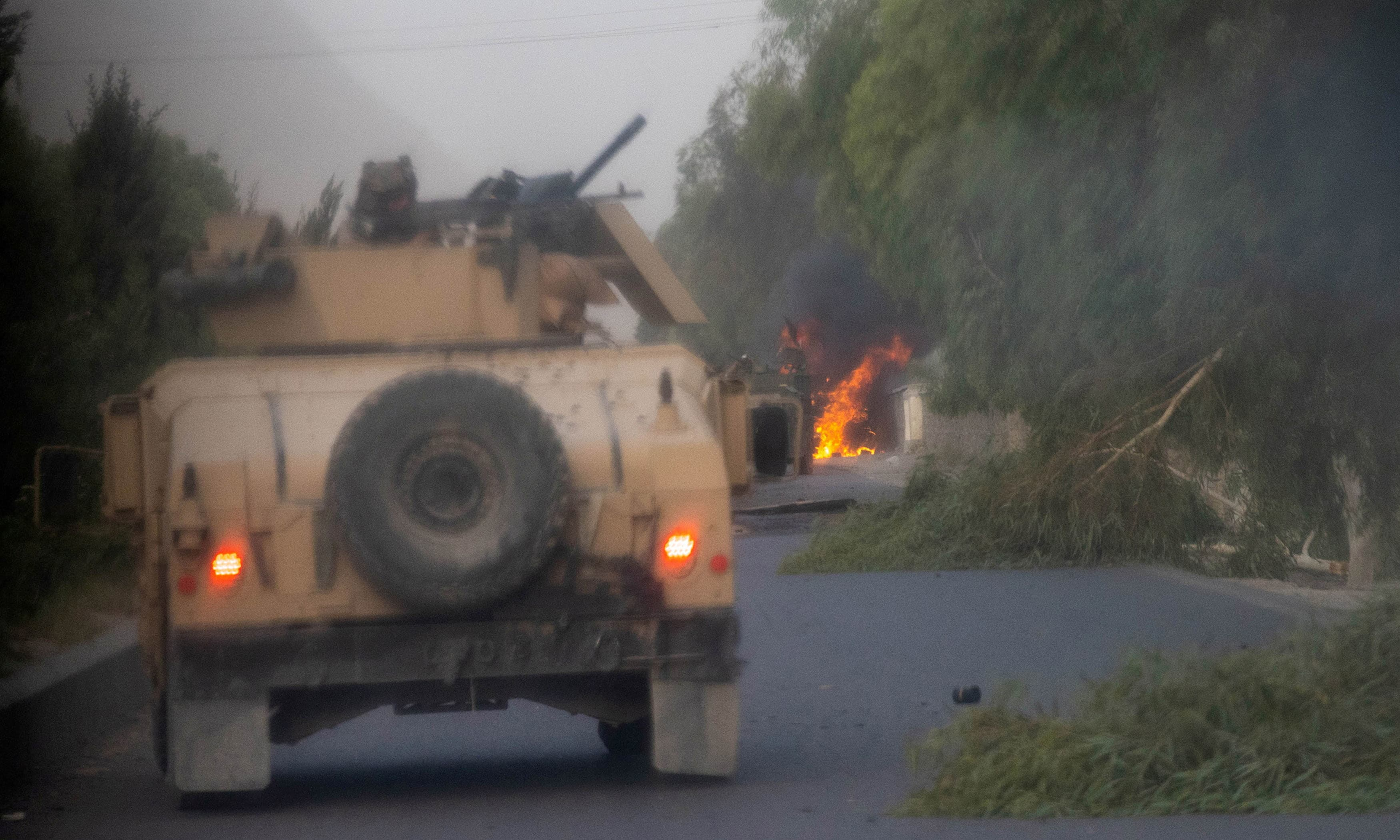 Humvees that belong to Afghan Special Forces are seen destroyed during heavy clashes with Taliban. — Reuters/File
