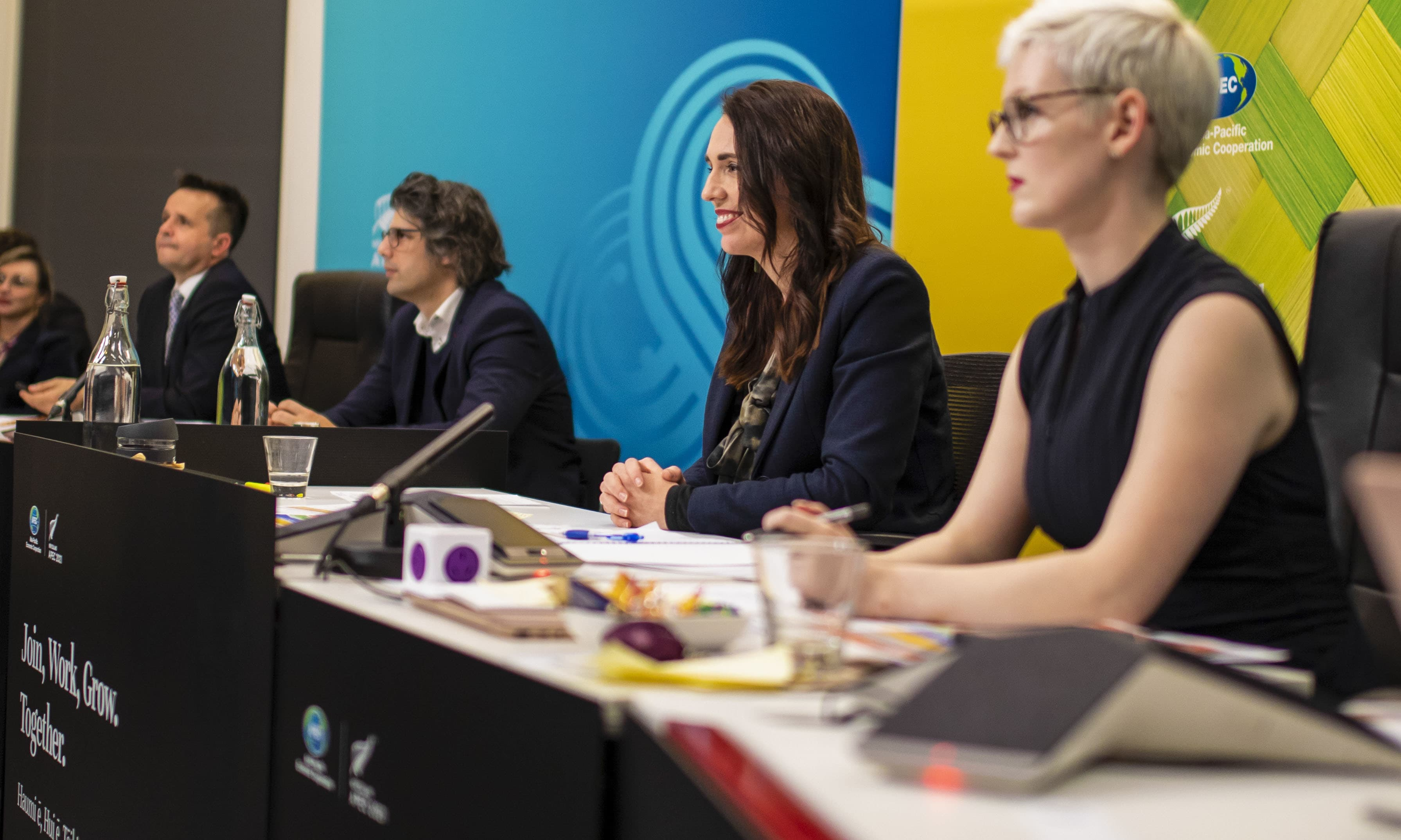 New Zealand Prime Minister Jacinda Ardern, second right, chairs a virtual APEC Leaders meeting from Wellington, New Zealand on Friday. — AP