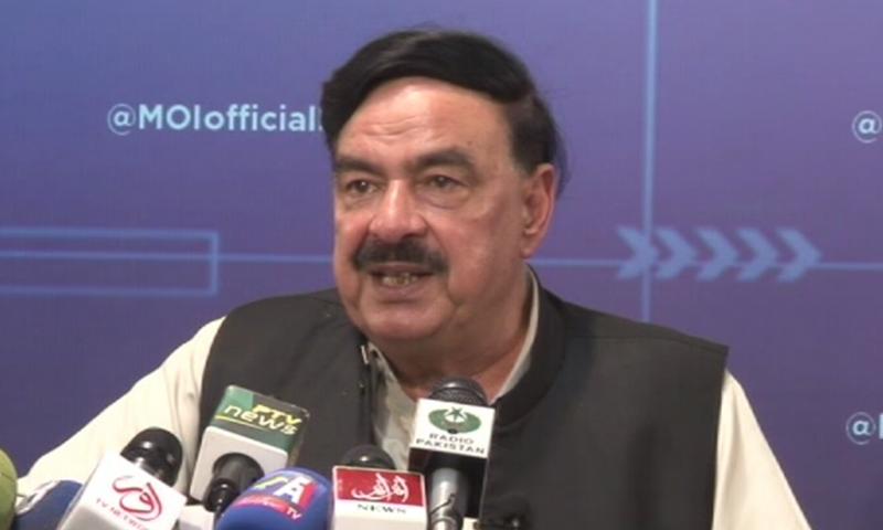 Interior Minister Sheikh Rashid addressing a press conference in Islamabad. — DawnNewsTV