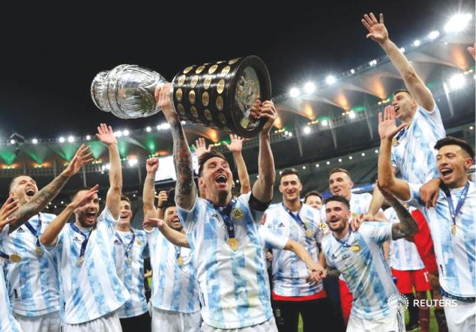 Lionel Messi celebrates the Copa America Triumph with Argentina