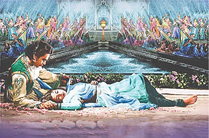 Playing Prince Saleem, a strong character who opposes his father in Mughal-i-Azam (1960)