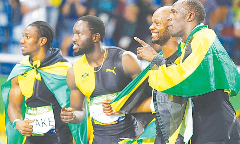 FLASHBACK: Winners of the men's 4x100 metres relay at the 2016 Rio Olympics, the Jamaican quartet of (L-R) Yohan Blake, Nickel Ashmeade, Asafa Powell and Usain Bolt  celebrate at the Olympic Stadium.—Reuters