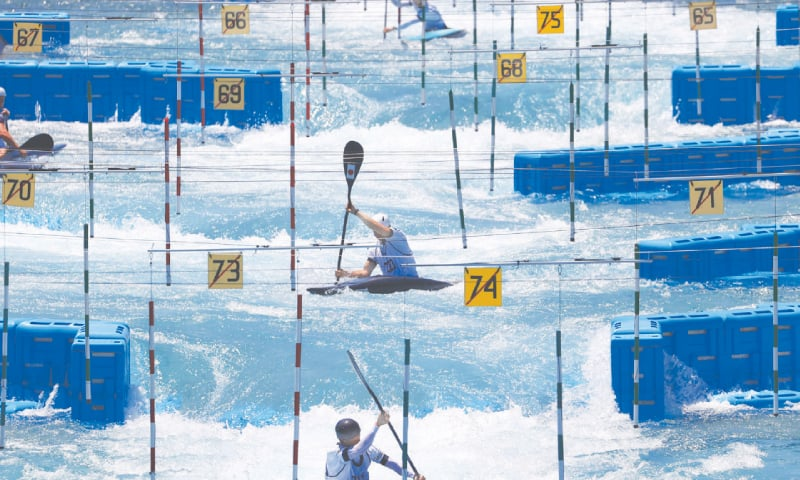 Athletes train at the Tokyo 2020 Olympic Kasai Canoe Slalom Centre on Saturday.— Reuters