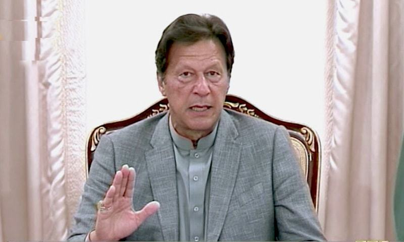 In this file photo, Prime Minister Imran Khan speaks to journalists in Islamabad. — DawnNewsTV/File