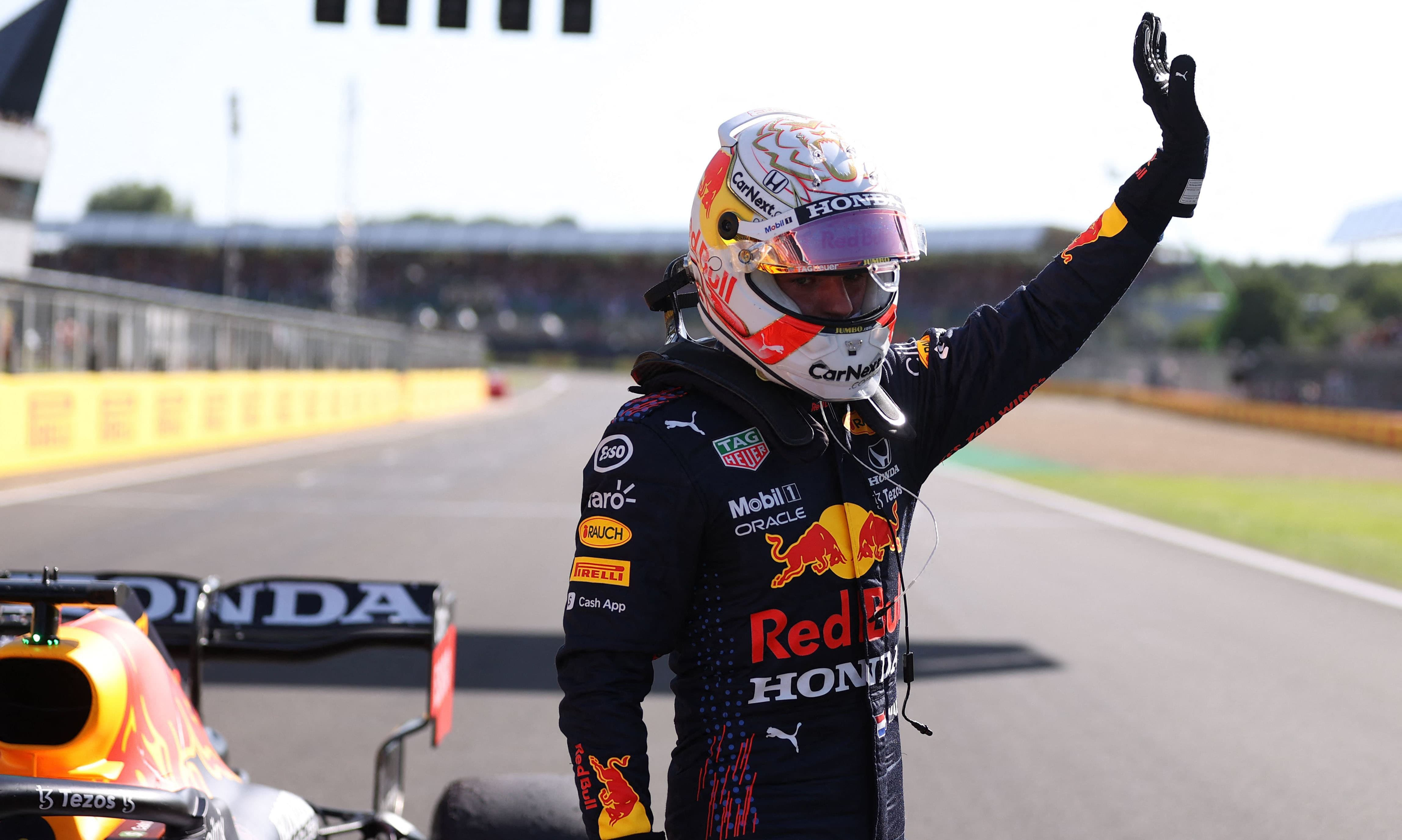 Red Bull's Dutch driver Max Verstappen gestures after the sprint session of the Formula One British Grand Prix at the Silverstone motor racing circuit in Silverstone, central England on Saturday. — AFP