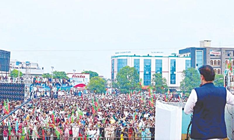 MIRPUR (AJK): Prime Minister Imran Khan addresses a public meeting on Sunday.—APP