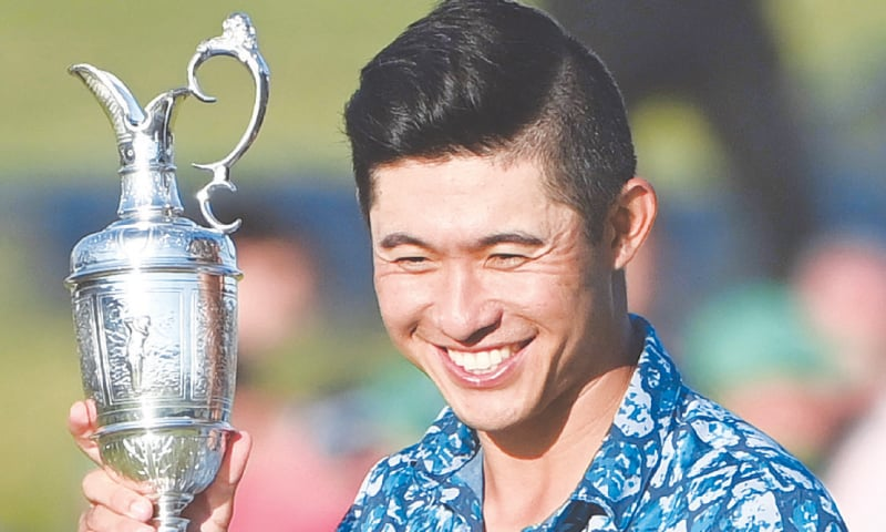 COLLIN Morikawa poses with the Claret Jug after winning the 149th British Open Golf Championship on Sunday.—AFP