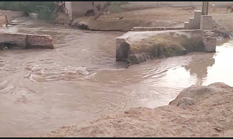 Irrigation department personnel had started plugging the breach, which had also flooded standing crops of onion, chili and paddy on 1000 acres of land including and 10 fish ponds. — Dawn/File