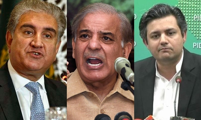 Foreign Minister Shah Mahmood Qureshi (L), PML-N President Shehbaz Sharif (M) and Energy Minister Hammad Azhar. — AP/File, AFP/File, DawnNewsTV/File
