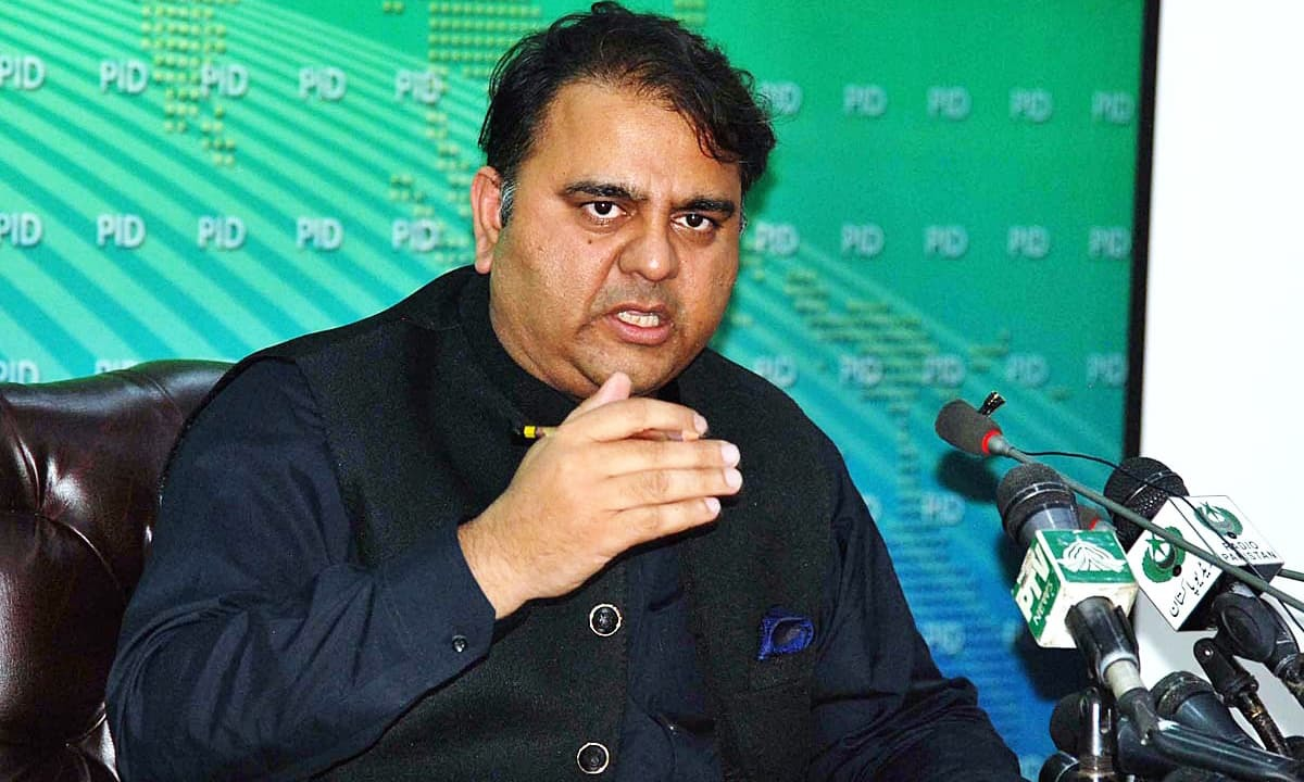 In the file photo, Federal Minister for Information and Broadcasting Chaudhry Fawad briefs the media about a cabinet meeting during a press conference at PID Media Centre. — APP/File