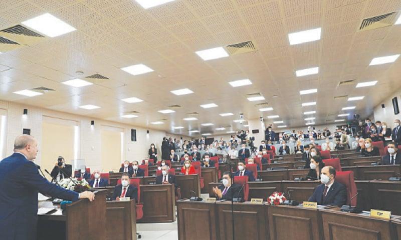 TURKISH President Recep Tayyip Erdogan addresses the parliament of Turkish Republic of Northern Cyprus.—Reuters