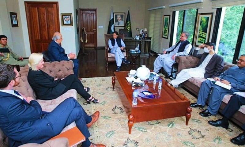 US Special Representative for Afghanistan Reconciliation Ambassador Zalmay Khalilzad meets Prime Minister Imran Khan and Chief of the Army Staff General Qamar Bajwa in Islamabad. — Photo courtesy Radio Pakistan