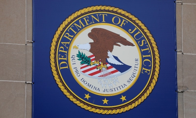 The crest of the United States Department of Justice (DOJ) is seen at their headquarters in Washington on May 10. — Reuters