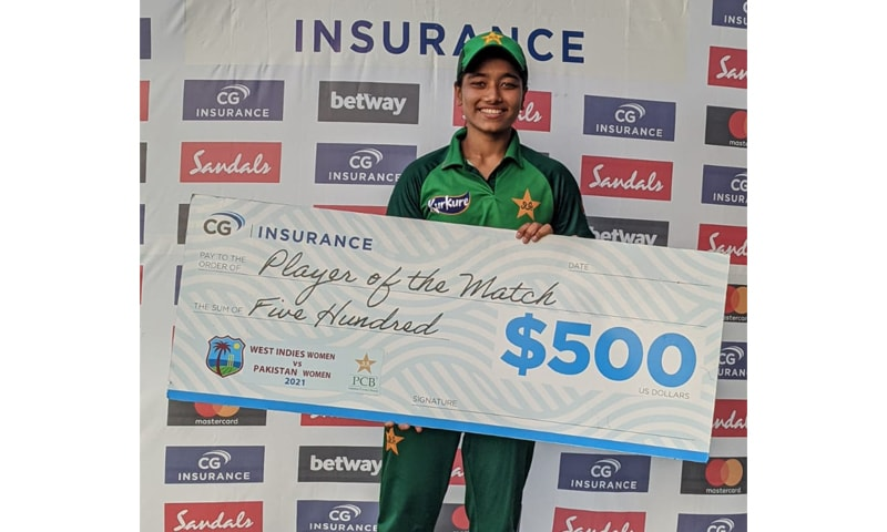 Right-arm pacer Fatima Sana claimed 5-39 in seven overs which earned her second player-of-the-match award on the trot. — Photo courtesy PCB Twitter