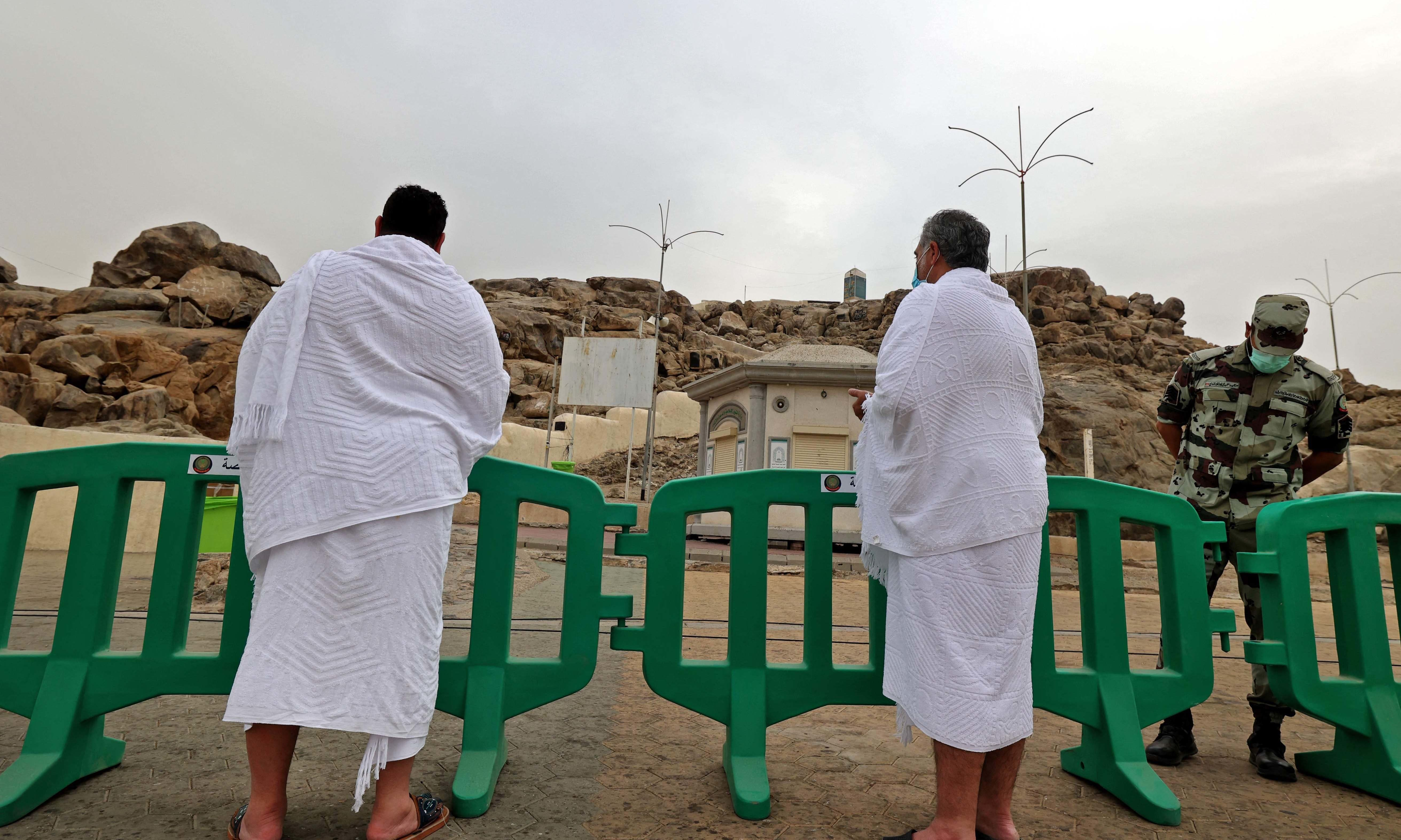 Mulism pilgrims pray on Mount Arafat, southeast of the holy city of Makkah, during the climax of the Haj pilgrimage amid the Covid-19 pandemic, on July 19. — AFP