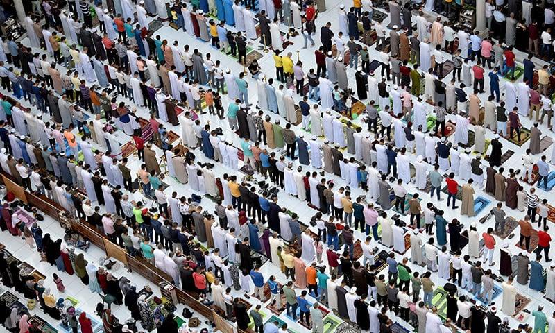 Muslims gather for Eidul Azha prayer inside Al-Azhar Mosque in Cairo, Egypt on Tuesday. — Reuters