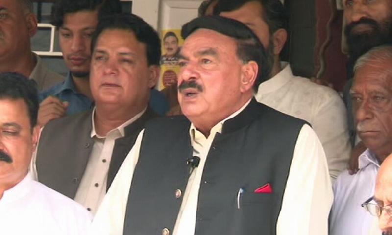 Interior Minister Sheikh Rashid addresses a press conference in Rawalpindi. — DawnNewsTV