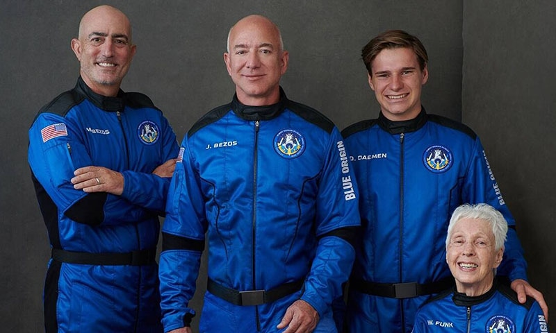 (From left) Mark Bezos, Jeff Bezos, Oliver Daemen and Mary Wallace Funk. — Picture via  Blue Origin Twitter account