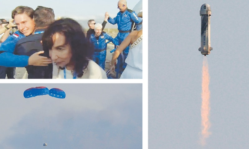 (CLOCKWISE) A still image shows Mark Bezos (right), Wally Funk (centre) and Oliver Daemen (left) after Blue Origin's reusable capsule returned from space. The New Shepard capsule soars into space. The capsule parachutes safely down to the launch area.—Agencies