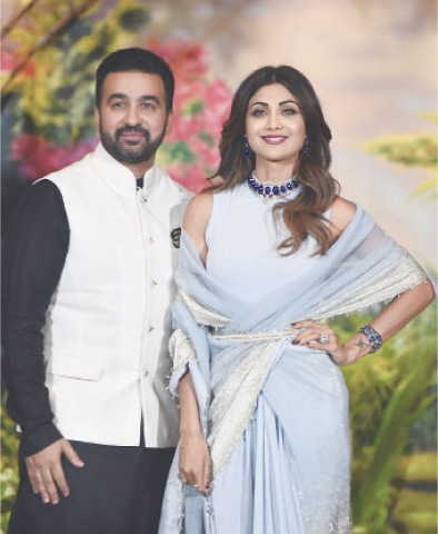 This May 8, 2018 file photo shows Shilpa Shetty with her husband Raj Kundra in Mumbai.—AFP