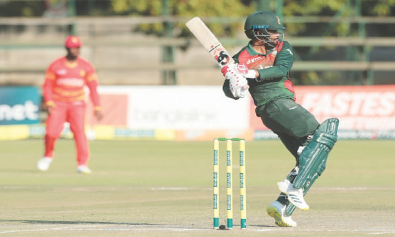 BANGLADESH captain Tamim Iqbal plays a shot during the third One-day International against Zimbabwe at the Harare Sports Club on Tuesday.—AP