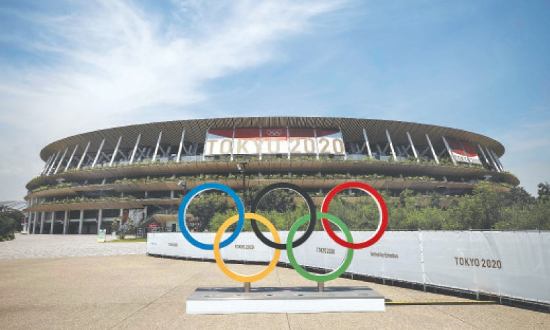TOKYO: A view of the Olympic Rings outside the Olympic Stadium on Tuesday, ahead of the Tokyo 2020 Games starting on Friday.—AFP