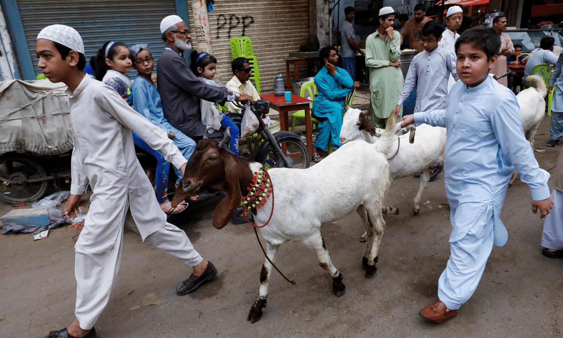 Children guide their goats before slaughter in Karachi. — Reuters