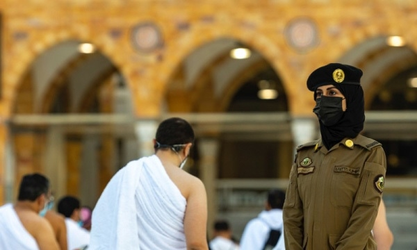 Since April, dozens of female soldiers have become part of the security services that monitor pilgrims in Makkah and Madina, the birthplaces of Islam. — Photo courtesy Saudi Gazette