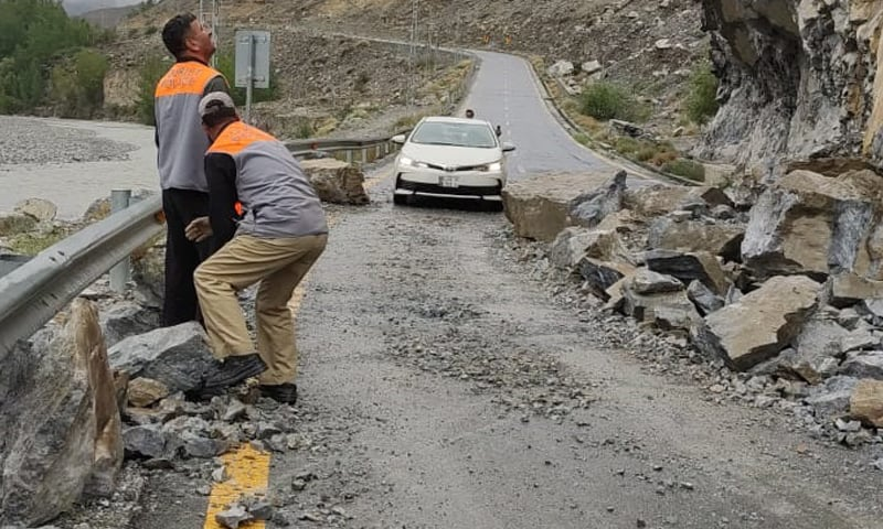 This photo shows a road damaged due to land sliding in Gilgit-Baltistan. — Photo by author