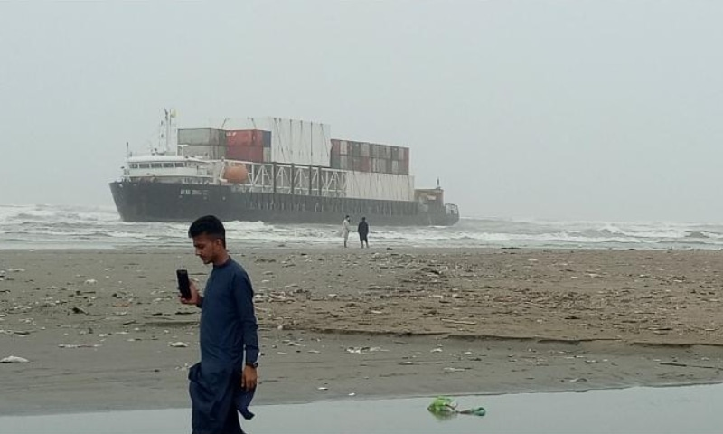 The MV Heng Tong cargo ship stranded on Sea View beach, Karachi. — Photo by author