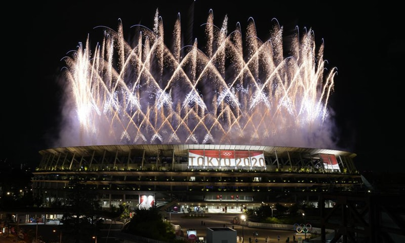 Fireworks illuminate over the National Stadium during the opening ceremony of the 2020 Summer Olympics. — AP